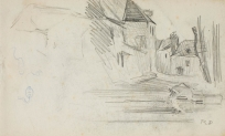 Vue de village (recto), Détail d'encorbellement (verso)