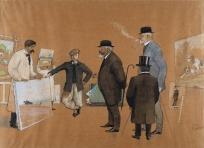 Les Collectionneurs havrais visitant une galerie de peinture