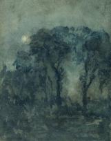 Paysage nocturne : pins, lune
