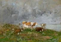 Vaches au bord de la mer