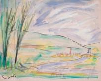 Paysage avec village en bordure de rivière