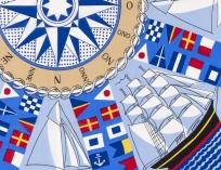 Foulard « Pavois de marine et boussole »