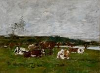 Vaches dans un pré et ciel gris