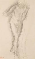 """Nu de face, en mouvement, et étude de jambe (Etude pour """"La Fille de la Jephté""""?)"""