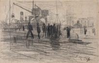 """Dessin préparatoire pour """"Fin de journée au Havre"""""""
