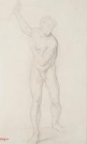 """Homme nu levant le bras droit (Etude pour """"La Fille de la Jepthé""""?)"""