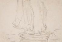 Croquis de barques sur la mer