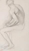 Homme assis de trois quarts dos, deux mains réunies (Étude pour « Alexandre et Bucéphale »)