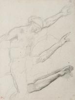 Homme nu bras gauche tendu et deux études de bras tendus (Étude pour « La Fille de Jephté »)
