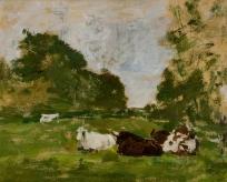 Paysage : trois vaches couchées