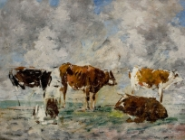 Cinq Vaches dans un pré, ciel orageux