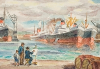 Peintre sur le port du Havre, Vue du Havre (ancien titre)