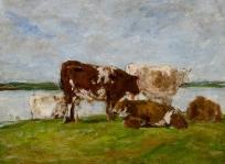 Paysage : cinq vaches au bord de l'eau