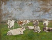 Groupe de huit vaches blanches
