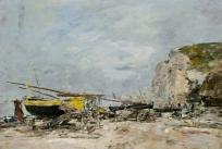 Falaises et barques jaunes à Etretat