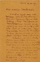 Lettre de Eugène Boudin à Pieter van der Velde, 16 février 1889