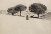 Femme et chien dans un paysage aux pins parasols