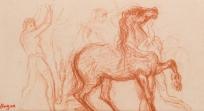 """Cavalier, soldats et cheval (Etude pour """"La Fille de Jephté"""". ), Ancien titre : Cavalier"""