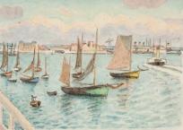 Bateaux de pêche dans l'arrière-port, le Havre.  ,