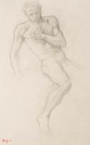 """Homme assis prenant appui de sa main droite, main gauche sur la poitrine ou Étude pour le personnage de Jephté (Etude pour """"La Fille de Jephté"""")"""