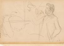 Trois études de visage et silhouette d'homme (recto), Etude d'homme à mi-corps et études de têtes (verso)