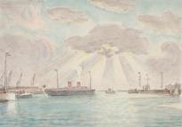 Le Port du Havre. Sortie d'un transatlantique.  , Le Port. Sortie d'un transat (titre inscrit)