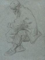 Croquis d'un homme assis