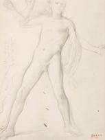 """Alexandre et étude de jambes (Étude pour """"Alexandre et Bucéphale"""")"""