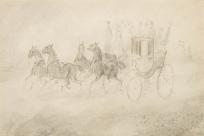 Calèche tirée par quatre chevaux