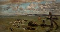 Rochers, barques et baigneurs au Poudreux