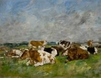 Vaches, ciel nuageux et bleu