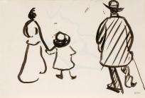Femme, enfant et homme de dos