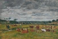 Paysage avec vaches