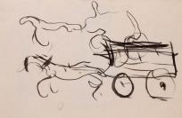 Femme, personnage et parapluie, bicyclette