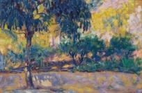 Paysage avec eucalyptus et rivière, Arbres devant une rivière