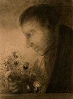Homme de profil avec bouquet de fleurs