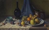 Nature morte, Carafe, tasse et fruits