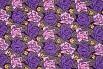 Tissus « Roses sur fond grenat »