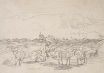 Femme gardant un troupeau de chèvres