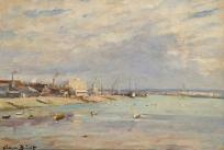 La Plage du Havre à marée basse avec l'ancien sémaphore