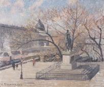 Statue d'Henri IV et hôtel de la Monnaie, matin, soleil