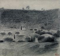 Paysage vallonné avec ferme et cyprès