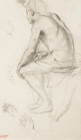 """Homme assis bras droit levé, main gauche posée sur le genou. Études de mains et de bras (Études pour """"Alexandre et Bucéphale"""")"""