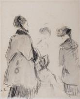 Trois Femmes et fillette de dos