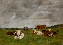 Etude de vaches dans une prairie, ciel gris nuageux