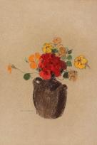 Vase brun avec capucines