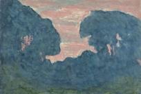 Silhouettes d'arbres, ciel rose