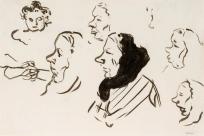 Six têtes de femme dont trois avec fichu