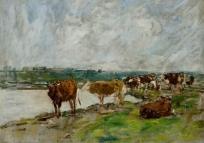 Vaches au bord de l'eau, paysage