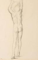 Homme nu de dos hissé sur la pointe des pieds, bras levés (Étude pour « Alexandre et Bucéphale »)